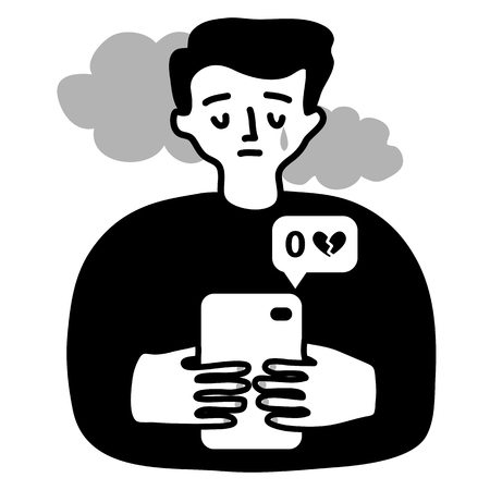Monochrome Vector illustration of a sad boy who gets no likes on social networks. Depressive mindset concept. Addiction to social media.
