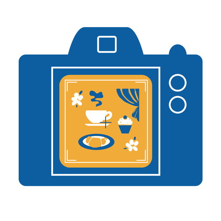 Vector illustration of photo camera taking picture of coffee table stilllife. Food photography concept.
