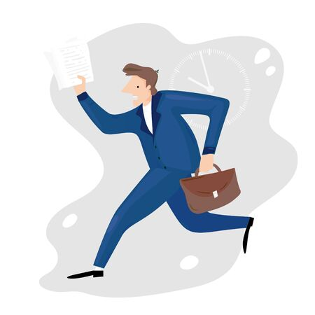 Vector Illustration of an office worker being on a hurry for deadline. Employee character is late to office with report. Ilustracja