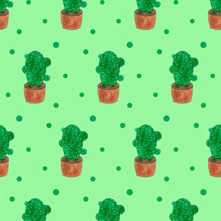 Seamless pattern with green cactuses in pots. Cartoon style print. Funny illustration. Funny watercolor doodle art Imagens