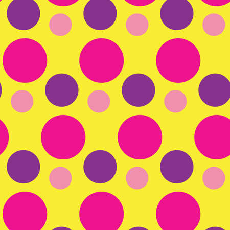 Seamless pattern with circles. Pink and purple rounds on yellow board. Romantic girly print. Print for textile, gift wrapping paper, cards, web and design. Simple minimalistic texture