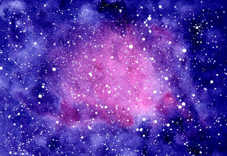 Abstract watercolor background. Deep blue night sky with stars. Pink and purple colors. Hand drawn illustration. Galaxy painting, cosmic texture. Astrology theme. Beautiful and romantic space Zdjęcie Seryjne