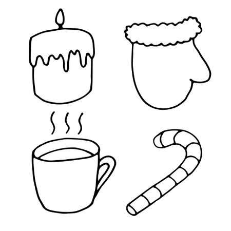 Set of winter elements, hand drawn doodle style illustrations. Candle, mitten, candy and cup of hot drink. Black objects isolated on white board. Vector illustration. Good for print, cards, design Illusztráció