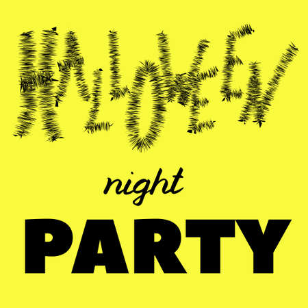Halloween lettering, vector illustration. Black text isolated on yellow board in different styles. Halloween night party phrase. Hand drawn quote for print, cards, decoration. Creative style