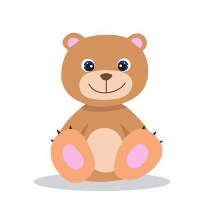 Smiling Teddy Bear, cute vector illustration in flat style. Positive cartoon print for kids and babies. Print for clothes, textile, books, gift wrap, cards, design and decor. Brown sitting baby bear