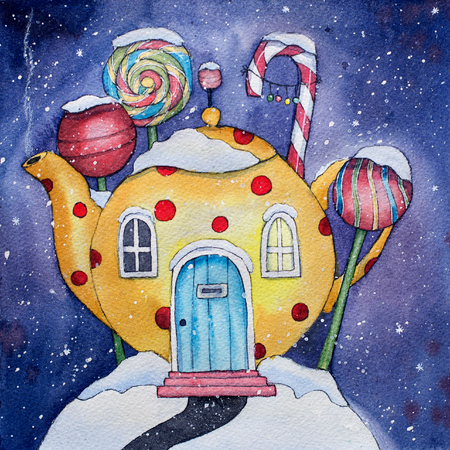 Winter Candy Land Watercolor Illustration