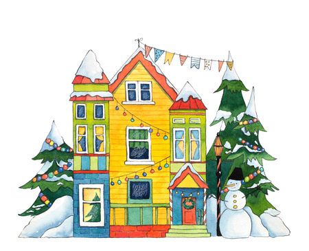 Watercolor Winter House
