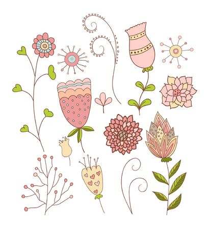 Set of Whimsical Flowers. Vector Illustration.