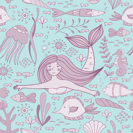 Seamless pattern with mermaid, fishes, coral, shell, seahorse and seaweeds. Vector illustration.