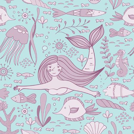 인 어, 물고기, 산호, 셸, seahorse 및 해 초 원활한 패턴. 벡터 일러스트 레이 션.