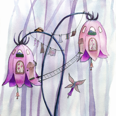 building color: Fairies flowers houses. Watercolor illustration. Stock Photo