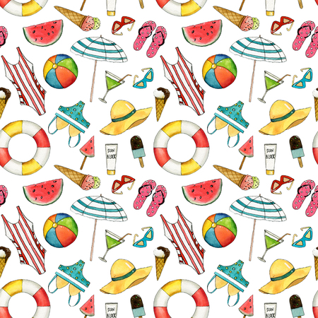 Hand drawn travel watercolor seamless pattern with umbrella, hat, swimming suit, coctail, ice cream, ball, lifebuoy, sun glasses.