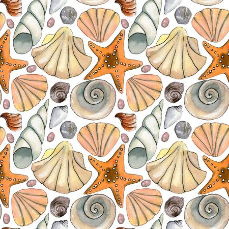 Hand drawn sea watercolor seamless pattern with sea shells, starfish,  stones.
