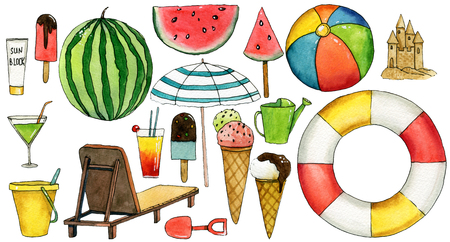 Set of travel  hand drawn watercolor elements with umbrella, watermelon, ice cream, ball, lifebuoy, chaise-longue, bucket, cocktail, sand castle. Reklamní fotografie