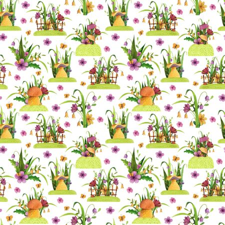 Seamless Pattern. Mushrooms with flowers, grass, leaves, fence, butterfly. Watercolor and colored pencil illustration. Stock Photo