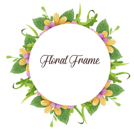 Summer, spring, easter, birthday, wedding circle frame with flowers, leaves and branches. Hand drawn watercolor ans colored pencils illustration. Stok Fotoğraf