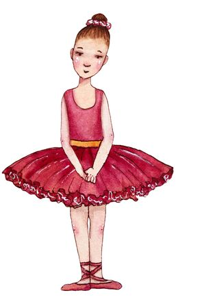 Little ballerina in red dress. Hand drawn watercolor illustration.
