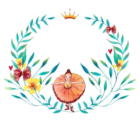 Watercolor blue, red and yellow wreath with little ballerina, flowers, leaves and branches. Hand drawn illustration.