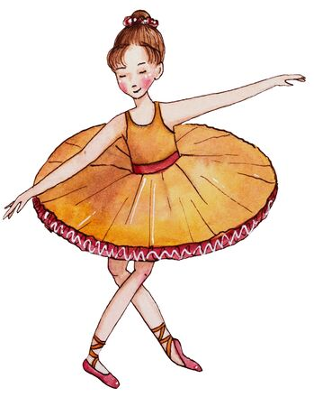 Little ballerina in yellow dress. Reverence. Hand drawn watercolor illustration.