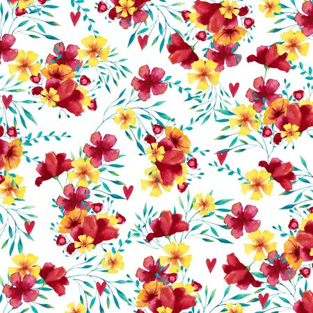 Watercolor background (pattern) with tropical bouquets. Hand drawn illustration.