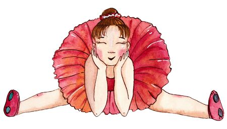 Little sitting ballerina in red dress. Hand drawn watercolor illustration. Stok Fotoğraf