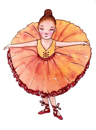 Little ballerina in orange dress. Reverence. Hand drawn watercolor illustration.