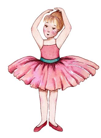 Little ballerina in pink dress. Hand drawn watercolor illustration.