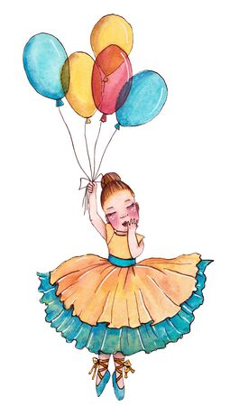 Little ballerina in yellow and blue dress flying on the balloon. Hand drawn watercolor illustration. Stok Fotoğraf