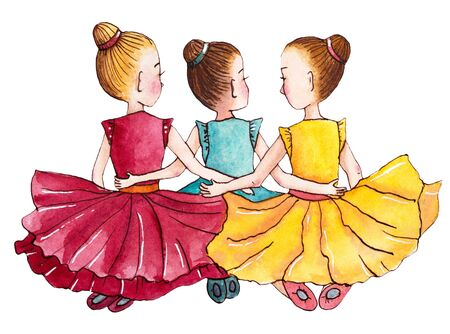 Three little ballerinas sitting on the floor. Hand drawn watercolor illustration. Stok Fotoğraf