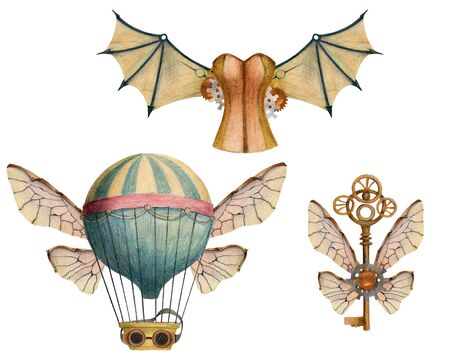 Set of steampunk elements with air balloons, wings, keys, glasses, corset. Hand drawn colored pencil illustration.