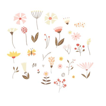 Set of summer, spring vector flowers, leaves and branches. Hand drawn illustration. Stock Illustratie
