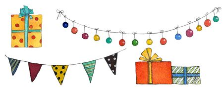 Set of christmas banners, lamps and gifts. Hand drawn watercolor illustration.