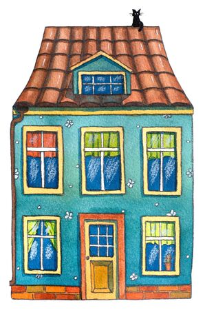 Watercolor cute  house. Hand drawn illustration. Banco de Imagens