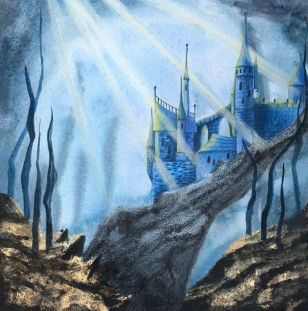 Magical underwater mermaid castle on the rock . Colour pencils and watercolor hand drawing illustration. Фото со стока