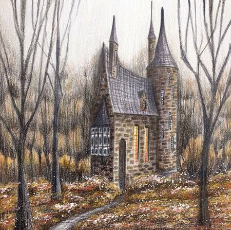 Magical house or castle. Pencil hand drawing illustration.