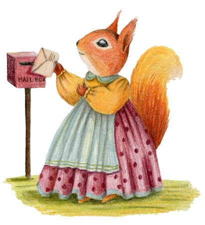 Cute lady squirrel send a letter. Stock Photo - 132672521