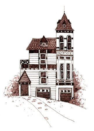 Old victorian house with trees. Hand drawn illustration. Banque d'images - 132672835