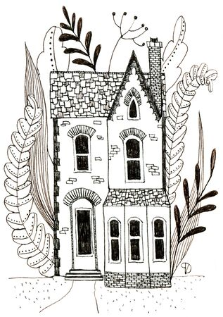 Old victorian house with flowers and leaves.