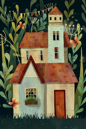 Magical house or castle in the forest with stars, leaves, branches, butterfly and flowers. Hand drawn illustration.