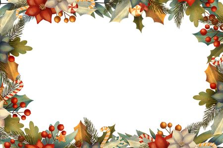 Rectangle christmas frame for card or invitation with poinsettia, lollipop, candy, gingerbread, berry, leaves, branches.
