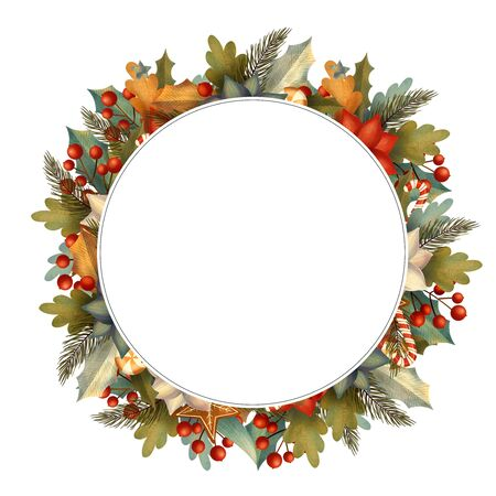 Circle christmas frame for card or invitation with poinsettia, lollipop, candy, gingerbread, berry, leaves, branches.