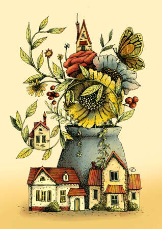 Vase with beautiful flowers, houses, berries and butterfly.