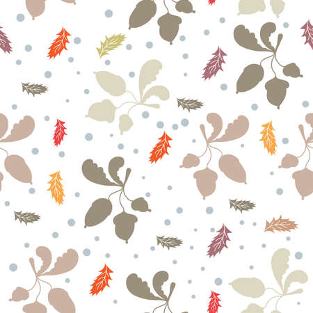 late autumn: Late autumn vector seamless pattern. Falling leaves, acorns and snow on white background. Illustration for textile, wrap or wallpaper. Illustration