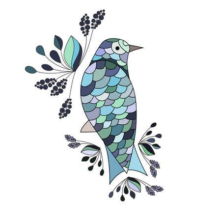 joyfulness: Illustration of bluebird - symbol of luck, cheerfulness, prosperity, wellness, renewal. Design element for greeting card.