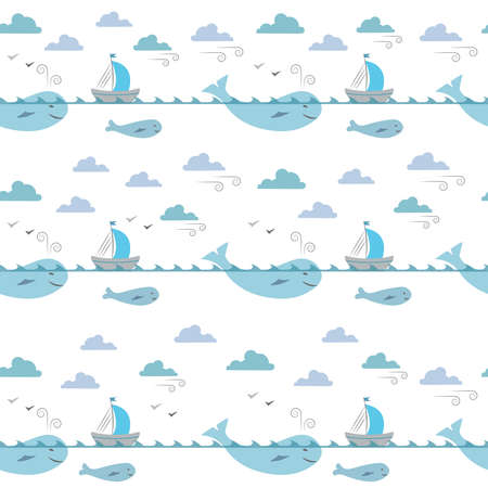 Illustration of marine life for kids. Seamless pattern. Whales, ships, clouds and wind on white background. Illustration for textile, wrap or wallpaper.