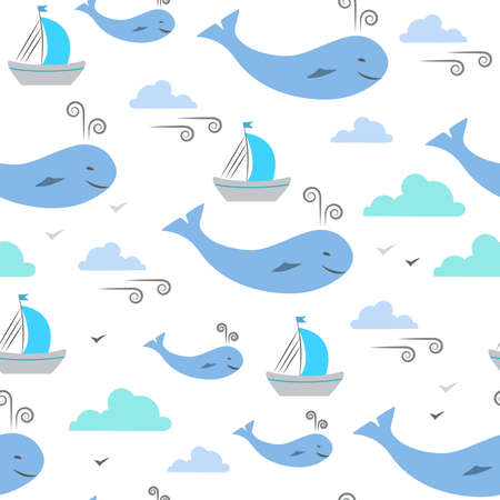 Simple illustration of marine life for kids. Seamless pattern. Whales, ships, clouds and wind on white background. Illustration for textile, wrap or wallpaper.