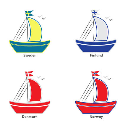 Illustration of ships with scandinavian flags. Sweden, Norway, Denmark, Finland. Illustration