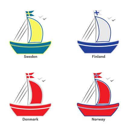 bandera de suecia: Ilustración de barcos con banderas escandinavas. Suecia, Noruega, Dinamarca, Finlandia.