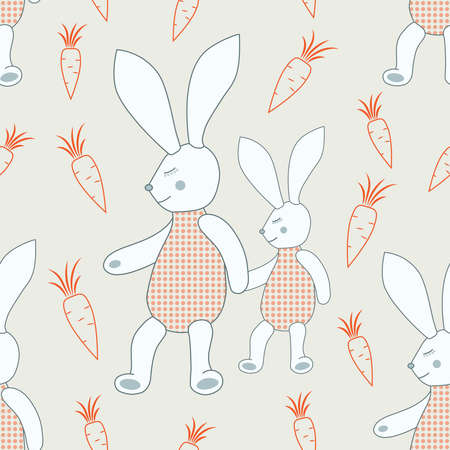 Seamless pattern of sleeping bunnies with carrots. Illustration for textile, wrap or wallpaper.