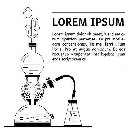reagent: Vector illustration of Kipps apparatus - old fashioned chemistry glassware used for gases generation through chemical reaction.